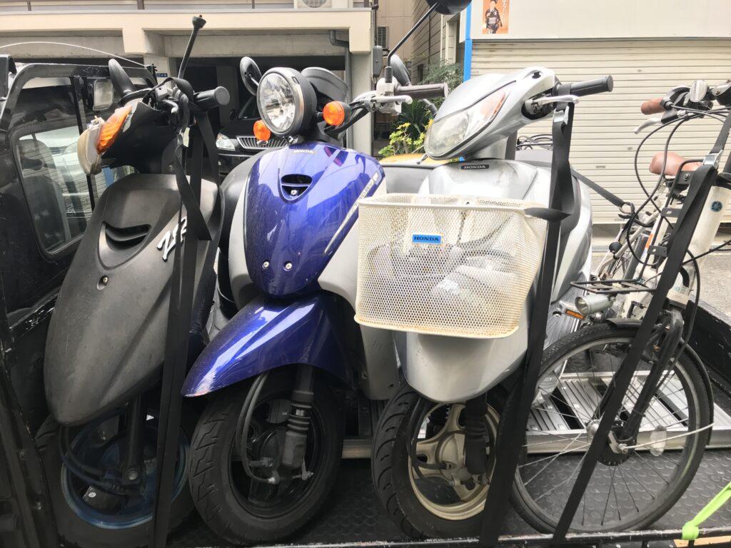 原付3台無料引き取り・電動自転車買取